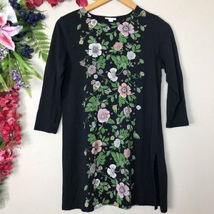 J. Jill floral 3/4 sleeve black tunic